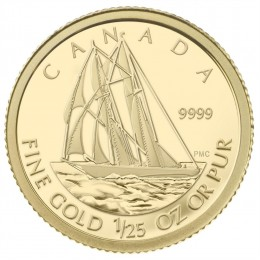 2012 Canada 1/25 oz Pure Gold 50 Cent Coin - The Bluenose