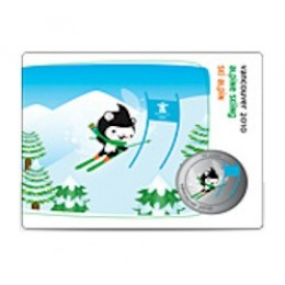 2010 Canada Olympic Mascot 50 Cent Coin Collector Card - Alpine Skiing