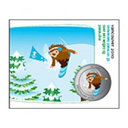2010 Canada Olympic Mascot 50 Cent Coin Collector Card - Snowboard Slalom