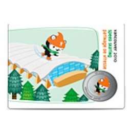 2010 Canada Olympic Mascot 50 Cent Coin Collector Card - Speed Skating