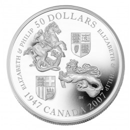 2007 Canada 5 oz Fine Silver 50 Dollar Coin - 60th Wedding Anniversary of Queen Elizabeth and Prince Philip