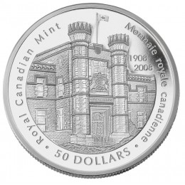 2008 Canada 5 oz Fine Silver $50 Coin - 100th Anniversary of the Royal Canadian Mint