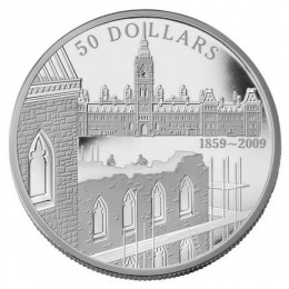 2009 Canada 5 oz Fine Silver $50 Coin - 150th Anniversary of the Start of the Construction of the Parliament Buildings