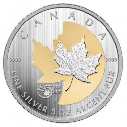 2013 Canada 5 oz Fine Silver $50 Coin - 25th Anniversary of the Silver Maple Leaf
