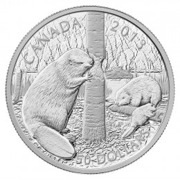 2013 Canada 5 oz Fine Silver $50 Coin - The Beaver