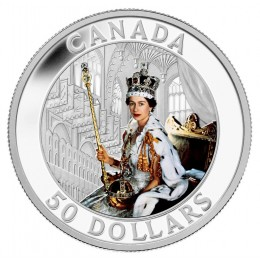 2013 Canada 5 oz Fine Silver $50 Coin - Queen's Coronation