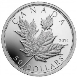 2014 Canada 5 oz Fine Silver $50 Dollar Coin - Maple Leaves