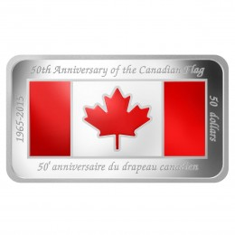 2015 Canada Fine Silver 50 Dollar Coin - 50th Anniversary of the Canadian Flag