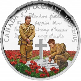 2015 Canada Fine Silver 50 Dollar Coin - 100th Anniversary of In Flanders Fields