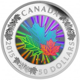 2015 Canada Fine Silver 50 Dollar Coin - Lustrous Maple Leaves