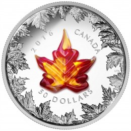 2016 Canada $50 Murano Glass Maple Leaf: Autumn Radiance 5 oz Fine Silver Coin