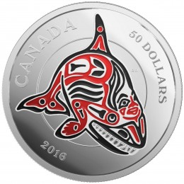 2016 Canadian $50 Mythical Realms of the Haida Series: The Orca - 5 oz Fine Silver Coin