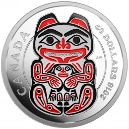 2016 Canadian $50 Mythical Realms of the Haida Series: The Bear - 5 oz Fine Silver Coin