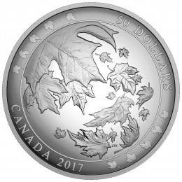 2017 Canada Fine Silver $50 Coin - Maple Leaves in Motion