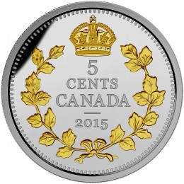 2015 Canada Fine Silver 5 Cent Coin - Legacy of the Canadian Nickel: The Crossed Maple Boughs