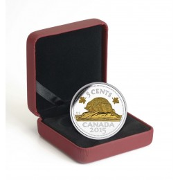 2015 Canada Fine Silver 5 Cent Coin - Legacy of the Canadian Nickel: The Beaver