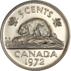 1972 Canadian 5-Cent Beaver Nickel Coin (Brilliant Uncirculated)