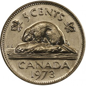 1973 Canadian 5-Cent Beaver Nickel Coin (Brilliant Uncirculated)