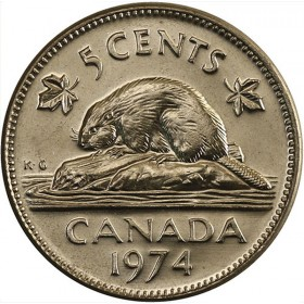 1974 Canadian 5-Cent Beaver Nickel Coin (Brilliant Uncirculated)