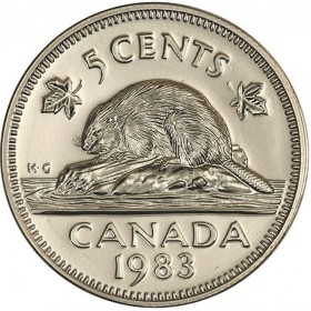 1983 Canadian 5-Cent Beaver Nickel Coin (Brilliant Uncirculated)