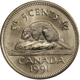 1991 Canadian 5-Cent Beaver Nickel Coin (Brilliant Uncirculated)