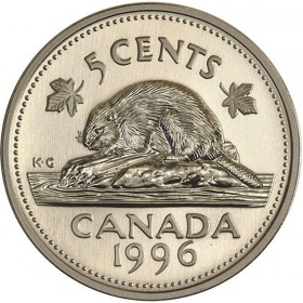 1996 NEAR 6 Canadian 5-Cent Beaver Nickel Coin (Brilliant Uncirculated)
