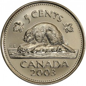 2003 Canadian 5-Cent Beaver, New Effigy (Brilliant Uncirculated)