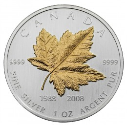 2008 Canada Fine Silver $5 Coin - 20th Anniversary of the Silver Maple Leaf Coin