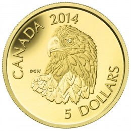 2014 Canada Pure Gold $5 Coin - Bald Eagle