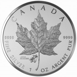 2015 Canada 1 oz Fine Silver $5 Coin -  Maple Leaf ANA Privy: Chicago Violet