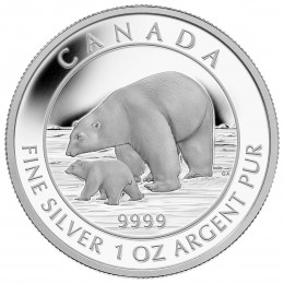 2015 Canadian $5 Polar Bear and Cub - 1 oz Fine Silver Coin