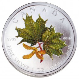 2002 Canadian $5 Coloured Silver Maple Leaf: Spring 1 oz Fine Silver Coin