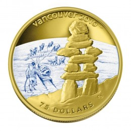 2008 Canada 14-kt Gold $75 Coin - Vancouver 2010 Olympic Winter Games: Inukshuk (NO BOX)
