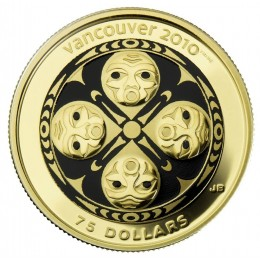 2008 Canada 14-karat Gold $75 Coin - Vancouver 2010 Olympic Winter Games: Four Host First Nations