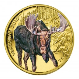 2009 Canada 14-karat Gold $75 Coin - Vancouver 2010 Olympic Winter Games: Moose (NO BOX)