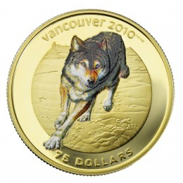 2009 Canada 14-karat Gold $75 Coin - Vancouver 2010 Olympic Winter Games: Wolf (NO BOX)