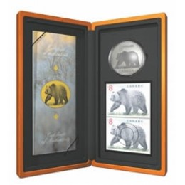 2004 Canada Limited Edition Fine Silver $8 Coin & Stamp Set - The Great Grizzly