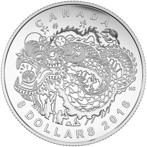 2016 Canada Fine Silver $8 Coin - Dragon Dance