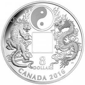 2016 Canada Fine Silver $8 Coin - Tiger and Dragon Yin and Yang