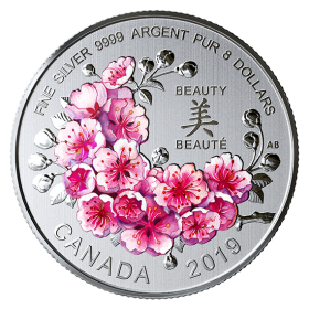 2019 Canadian $8 Brilliant Cherry Blossoms - Fine Silver Coloured Coin