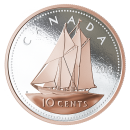 2018 Canadian 10-Cent Big Coin Series: Bluenose - 5 oz Fine Silver & Rose Gold-plated Coin