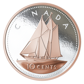 2018 Canadian 10-Cent Big Coin Series: Bluenose Schooner 5-ounce Fine Silver & Rose Gold-plated Dime Coin