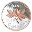 2018 Canadian 1-Cent Big Coin Series: Maple Leaves - 5 oz Fine Silver & Rose Gold-plated Coin