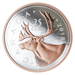 2018 Canadian 25-Cent Big Coin Series: Caribou 5-ounce Fine Silver & Rose Gold-plated Quarter Coin