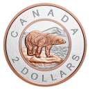 2018 Canadian $2 Big Coin Series: Polar Bear - 5 oz Fine Silver & Rose Gold-plated Coin