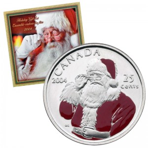 2004 Canadian Holiday 7-Coin Gift Set ft 25-Cent Santa Claus Coloured Quarter
