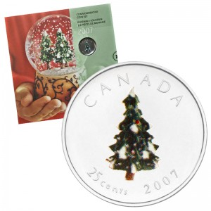 2007 Canadian Holiday 7-Coin Gift Set ft 25-Cent Christmas Tree Coloured Quarter