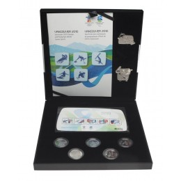 2010 Canada Vancouver Olympic Winter Games 5-Coin, Stamps & Silver Pin Set