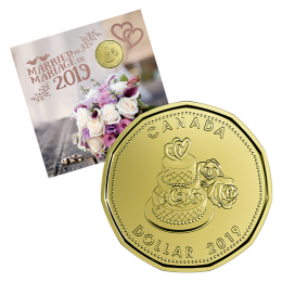 2019 Canadian Wedding Coin Gift Set ft $1 Specially Struck Loonie Dollar