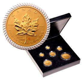 2004 (1979-) Canada Bi-Metallic Pure Gold Maple Leaf 6-Coin Set,  An Era of Triumph 25th Anniversary